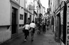 Pilgrims on the Camino de Santiago. Santiago de Compostela