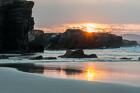Sunset at the Cathedrals. Playa de las Catedrales